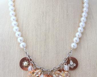 Boho Necklace, Funky Necklace,Rhinestone Necklace,Assemblage Necklace, Recycled Necklace,Upcycled Necklace,Statement Necklace,Pearl Necklace
