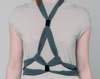 Body harness, Khaki chiffon bodycage, 50 shades harness, khaki harness, body harness, show stopper harness belt, black bodycage ANDADA 003