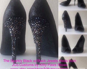 Women's Sophisticated Sparkly Black w/Black Jewels Handmade Beaded Elegant Inspired Open Toed Heels Pumps Shoes US Size 6.5