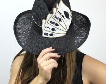 Straight Flush Casino Black Sequin Brimmed Hat