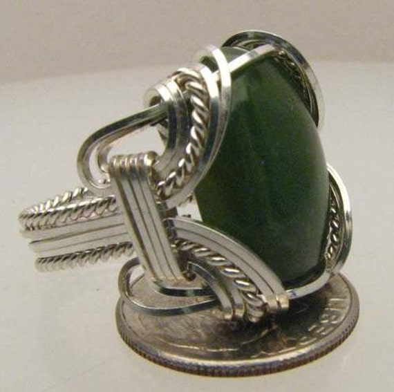 Handmade Wire Wrapped Green Onyx Sterling Silver Ring Custom Personalized Handmade free sizing and shipping 4 gem sizes different stone