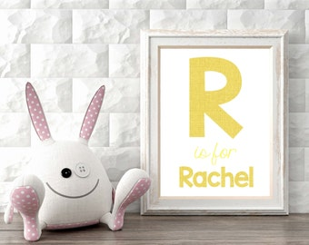 Wall art name, custom decoration, room decoration, custom letter, initial print, nursery art, name wall art, decor, digital, printable.