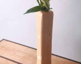 Laminated Birch Wood Vase, Dry Flower Series Vases, Slim, Hand Sculpted to Highlight Wood Variations, Hand Rubbed Oil Finish.