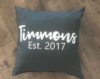 Custom Personalized Name/Date Pillow