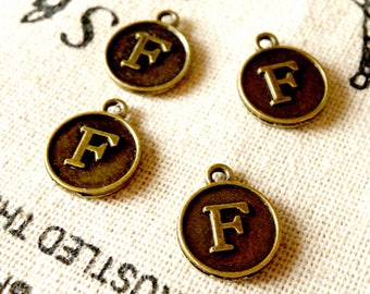 Alphabet letter F charm bronze vintage style jewellery supplies