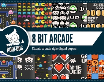 8 bit arcade digital paper | arcade game | 1980s | video game | pixel pattern | pacman | space invaders | Mario | bonus fruit | 1up | coin