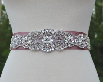 Bridal Wedding Sash Rhinestones and Pearls Crystal Choose Color Ribbon