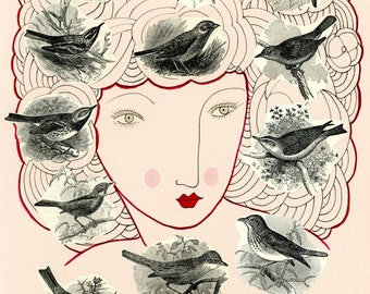 Nesting-Bird Print, Birds, Orthinology, Woodland Print, Woodland Home Decor