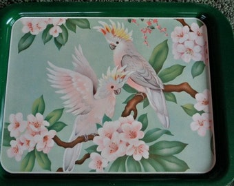 Vintage Parrot Tropical Floral Metal  Serving Tray Large Display Tray