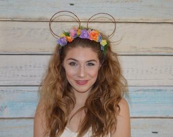 Micky Ears Flower Crown Disney World Disney Ears Flower Crown Princess Sisneyland Boho