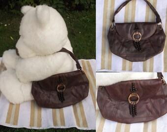 Vintage brown leather handbag Boho chestnut brown bag Soft brown leather handbag Land leather bag Chestnut brown leather purse Boho purse