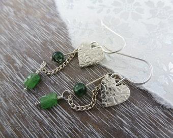 Flower print love heart earrings
