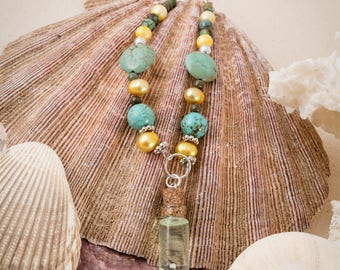 Bottled still life ocean pendant, shell jewelry, pearls and magnesite, ocean jewelry, mermaid necklace, gift for her