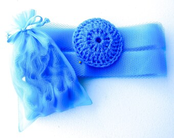 Bright Blue Nylon Netting Strips - Set of 4 through 20 - DIY Dish Scrubbers - Crochet Scrubbie Supplies