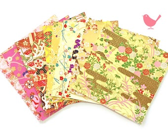 Scrap Pack - Japanese rice and origami paper ephemera, paper with beautiful golden print 15