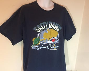 SALTY DAWG FISHING Team just for the Halibut  T-Shirt Adult Xl     z