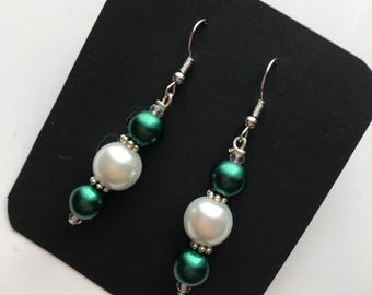 Green and White Beaded Drop earrings, green White bead earrings, green white drop earrings, Green White Earrings, Forest Green earrings ,