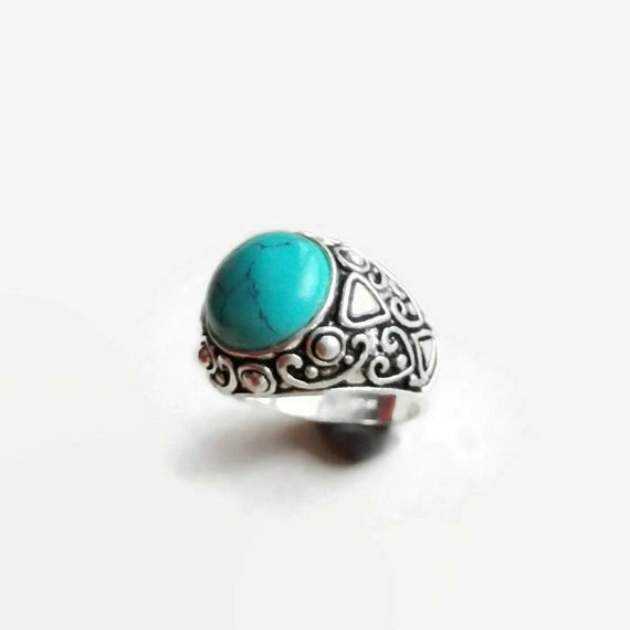 Turquoise ring Boho chic ring Bohemian jewelry Antique silver turquoise ring gypsy tibetan ring Gemstone birthstone womens ring size 8