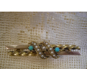 18K Gold Victorian Bar Pin Brooch - Seed Pearls And Turquoise - Late 1800's - REDuCED