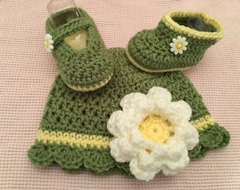 Baby Girl Daisy Green Crochet Beanie and Mary Jane Shoes or boots.