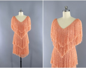 Vintage 1980s Fringed Dress / French Rags / 80s Fringe Disco Party Dress / Knit Sweater Dress / Apricot Orange