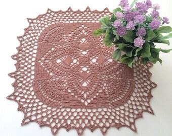 Crochet Doily - Brown Coffee