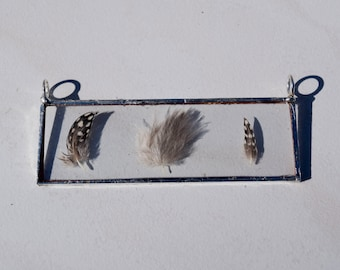 Presses Feather Glass Pendant Necklace
