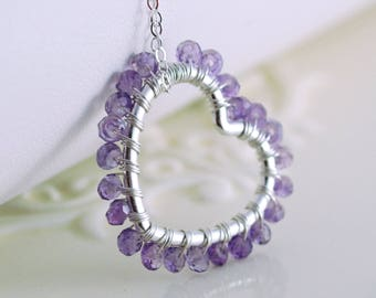 Real Amethyst Jewelry, Wire Wrapped Heart, Purple Gemstone, Genuine February Birthstone, Sterling Silver Necklace, Free Shipping