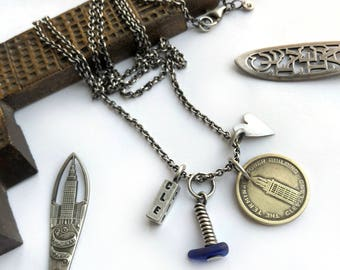 Vintage Cleveland 216 CLE Terminal Tower Observation Porch Token Coin Sterling Silver Long Necklace Heart Lake Erie Blue Beachglass Seaglass