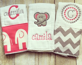 Personalized baby girl burp cloths, baby gift