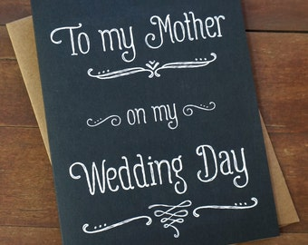 Mother of the Bride Card - To My Mother On My Wedding Day Gifts For Mom Mother of the Groom Mum Parents - Father & Groom cards also availab