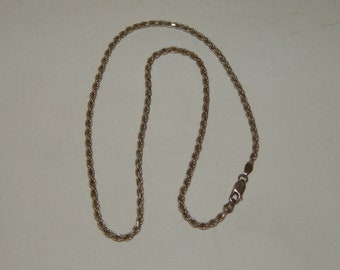 """Vintage Sterling Silver 18"""" Rope Chain Necklace - Made in Italy"""