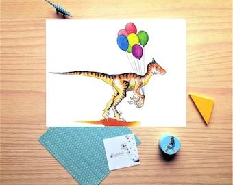 Dinosaur print, Velociraptor, birthday balloons, watercolor, illustration, wish card, wall decor, nursery room, shower gift