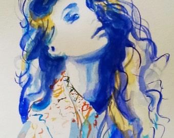 Original fashion watercolor painting,fashion art,fashion illustration, woman portrait,blue painting,original blue watercolor