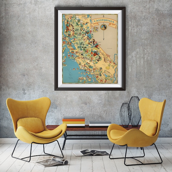 Vintage California Map from 1935 old California map Print