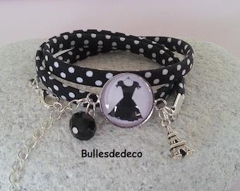 "Bracelet cabochon ""Little black dress"", black Creeper with white polka dots"
