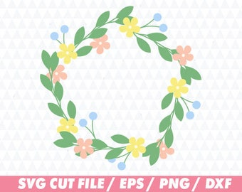 Flower svg, Floral svg, Floral Cricut, Flower wreath svg, Floral wreath svg, Laurel svg, Leaf svg, Monogram svg, Wreath svg, Flower cricut
