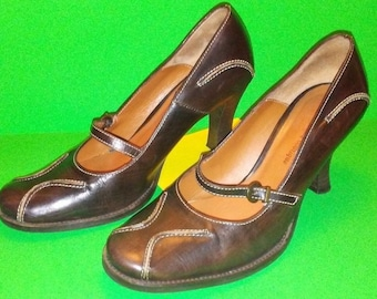 Italian Brown Leather Shoes Vera Gomma Women's Barila Boutique Italy 38 / 8