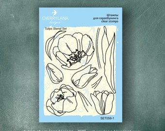 """Tulips Set of Flower Stamps 4x6"""" Clear Photopolymer Rubber Flower Stamp Set"""