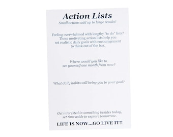 Action List notepad To Do list to Get into Action Goal Setting