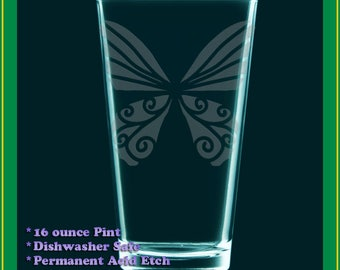 Art Deco Butterfly etched glass, beer tumbler, gift glass