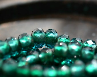 Emerald Skies - Premium Czech Glass Beads, Transparent Emerald, Capri, Metallic Gold Lined, Roller Beads 6x9mm - Pc 10