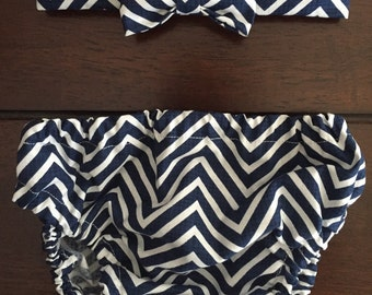 Navy Blue Chevron Diaper Cover and Bow Tie
