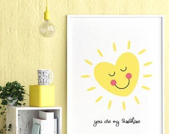 You Are My Sunshine Art, Smiling Heart, Dream Heart Art, Heart Kids Wall Art, Yellow Sunshine Nursery Art, Yellow Decor, Baby Nursery Art