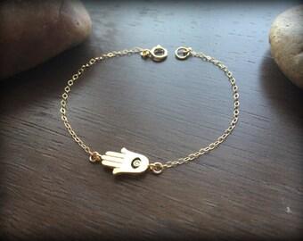 Dainty Hamsa Bracelet with CZ-Silver Hamsa Bracelet-Gold Hamsa Bracelet-Gold Filled Chain-Sterling Silver Chain-Hand of Fatima Eye Charm