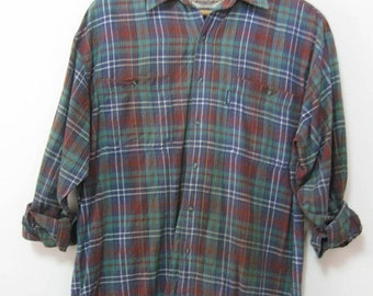 Vintage Men's Size L SONOMA Plaid Flannel Long Sleeve Shirt 2 Perfectly Matched Pockets Boyfriend Shirt Tomboy Shirt See Detai