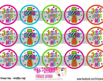 """15 Jesus Loves Me 2 Digital Download for 1"""" Bottle Caps (4x6)"""