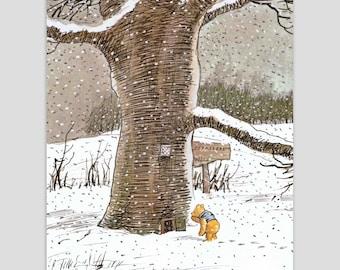 "Winnie the Pooh Wall Decor (Girls Nursery Art, Boys Bedroom Print, Woodland Baby Shower Gift) Pooh Bear Artwork -- ""Winnie Visits a Friend"""