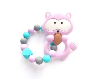 Raccoon Teething Toy, Silicone Teething Toy, Baby Teether, Silicone Teether, Baby Shower Gift, Birth Gift, Baby Teething Toy, Woodland Toy