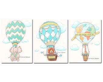 Nursery Decor Jungle Hot Air Balloon Baby Animals, Personalized Custom Name, Set Of 3, Boy Nursery Wall Art, Yellow, Teal, Blue, Green, Gray